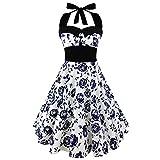 iShine Neckholder Kleid Damen 50s Rockabilly Kleid mit Petticoat Faltenrock Partykleid Festliches Kleid Knielang Cocktailkleid-BU-4XL