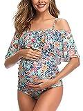 Maillot de Bain de Maternité Femme Volant Imprimé/Solide Une épaule Grossesse One Piece Beachwear