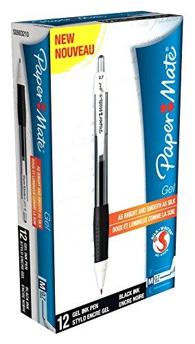 paper-mate-silkwriter-gel-pen-medium-tip-07mm-black-box-of-12