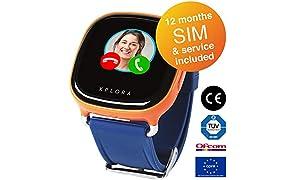 XPLORA 1 - Smartwatch for Children, Phone Calls, Text, Emojis, Voice Messages, School-Mode, Safe-Zones, SOS (ORANGE) (UK SIM with 12 Months of Calls, Data, Service Included)