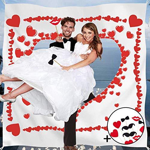 Faburo Hochzeitsherz zum Ausschneiden Brautpaar Hochzeitsspiel Hochzeitsgeschenk für Brautpaar mit 10pcs Foto Dekoration(2m x 1.7m)
