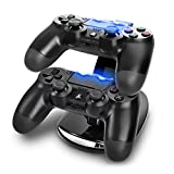 Skins4u Playstation 4 Controller Ladestation, horizontal Ständer Twin Dual Duo USB für 2 PS4 Controller Docking Station Ladegerät mit LED Beleuchtung Blue Light + 2X gratis Analog Stick Thumb Sticks