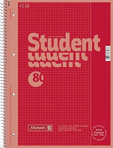 Brunnen 1067926123 Notizblock / Collegeblock Student Colour Code (A4 kariert, Lineatur 26, 90 g/m², 80 Blatt) rot