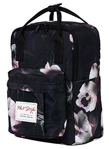 i Kleine Rucksack Windeltasche Reisetasche | 30x22x14cm | Schwarzes Blumen (Niedliche Damen-outfits)