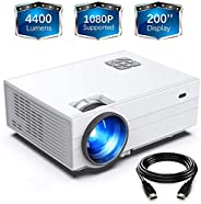 FunLites Projector,+80% Brightness HD 4400lumens Video Projector with 200