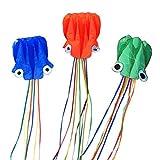 VORCOOL Große Octopus Kite Long Tail Schöne Easy Flyer Drachen mit Stecker für Kinder Kleinkind Outdoor Strand Aktivitäten (zufällige Farbe)