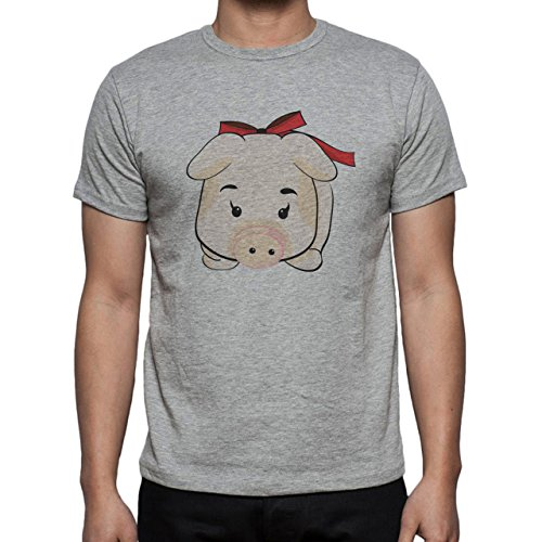 Pig Animal Farm Hog Red Ribbon Small Cute Herren T-Shirt Grau