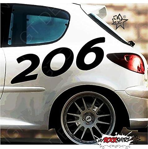 2 Peugeot 206 50x20 cm Tuning Aufkleber Sticker Decal `+