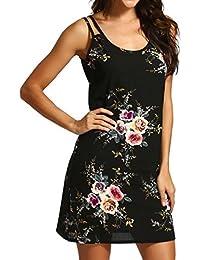 cb7289213bcbdb Amphia Damen Kleid Strandkleid Blumen Druckkleid Bandeaukleid Floral  Sommerkleid Spaghettiträger Kleid