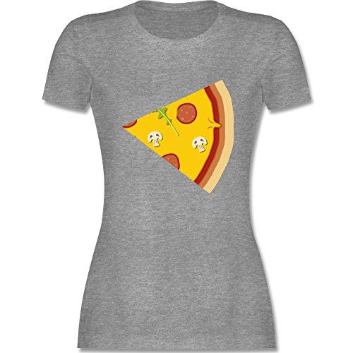 Shirtracer Partner-Look Pärchen Damen - Pizza Pärchenmotiv Teil 2 - Damen T-Shirt Rundhals Grau Meliert