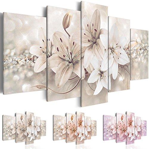 Quadro 200x100 cm - Tre colori da scegliere - 5 Parti - Grande Formato - Quadro su tela fliselina - Stampa in qualita fotografica - fiori b-A-0297-b-n 200x100 cm B&D XXL