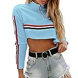 Meilleure Vente LuckyGirls Femme Automne Hiver Mode Zipper Courtes Rayées Pull Manches Longues Manteau Dames Patchwork Skinsuits Streetwear Sweatshirt