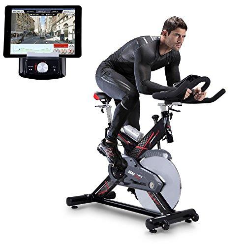 Sportstech Profi Indoor Cycle SX400 mit Smartphone App Steuerung + Google Street View, 22KG Schwungrad, Armauflage, Pulsgurt kompatibel - Speedbike in Studioqualität mit flüsterleisem Riemenantrieb - Fahrrad Ergometer bis 150 KG (Heimtrainer Google Maps)