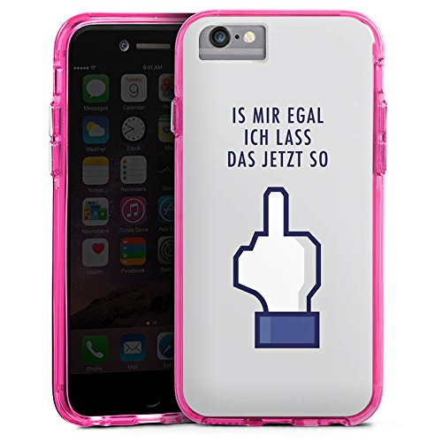 Apple iPhone 6 Bumper Hülle Bumper Case Glitzer Hülle Like Egal Statements Bumper Case transparent pink