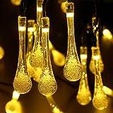 Magiclux Tech 8 m 40 LED luci da giardino / Fairy Water Drop lampada illuminazione esterna, 8 modalità (Steady, Flash), impermeabile, decorazione per patio, Staccionata, Cortile (Bianco Caldo)