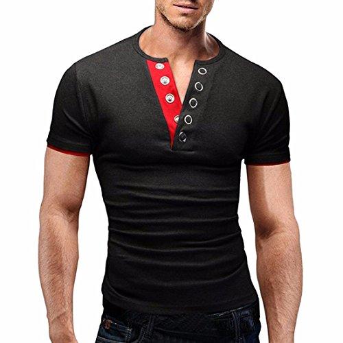 QIYUN.Z Männer Slim Fit T-Shirts Casual Sport V-Ausschnitt Kurzarm Muskel T-Shirts Slim Dunkelgrauer Roter Kragen