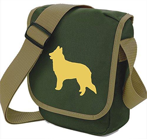 Bag Pixie ,  Unisex-Erwachsene Umhängetaschen Fawn Dog Olive Bag