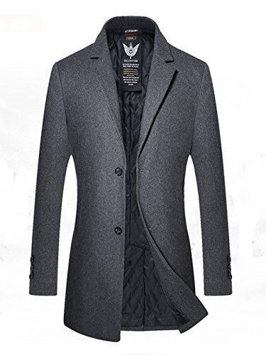 Herren Gesteppte Wollmishcung Mantel Slim Fit von YOUTHUP Grau XS (Wolle Modische Solid)