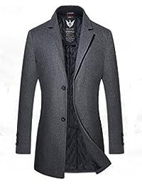 Homme Trench Coat Manteaux Long d'Hiver Mode Chaud Veste Longue Laine Mince Classique blazer outwear