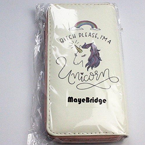 MayeBridge portafoglio Donna Cute Unicorno Borsa Del Portafoglio Della Moneta -M260 (Bianco) Unicorn