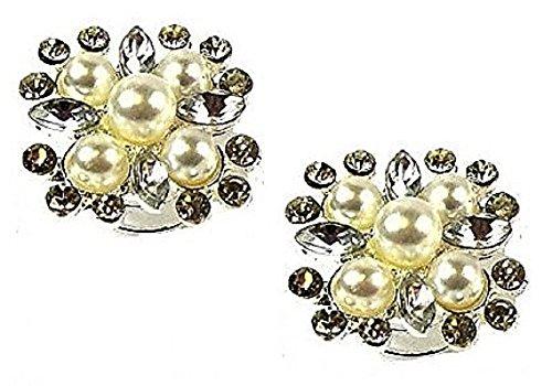 2 Argent Cristal Strass Perle Cheveux Fleur cependant Tourbillons épingles spirales mariage mariée demoiselle d'honneur Accessoires bijoux – 2.4 cm Dia