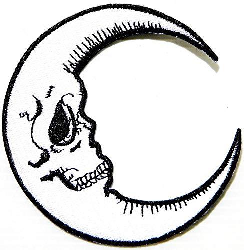 Crescent Moon Halloween Skelett Logo Symbol Jacke T-Shirt Patch Nähen Eisen auf gesticktem Zeichen Abzeichen Kostüm Kleidung Applique Souvenir Zubehör ()
