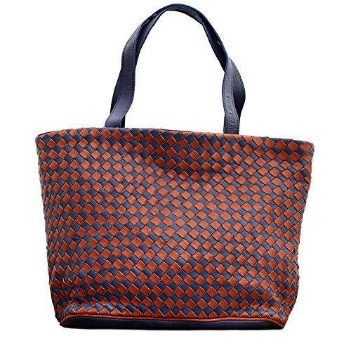 LE TRESSAGE bicolore Naturel / Bleu cabas en cuir tressé sac à main style vintage PAUL MARIUS