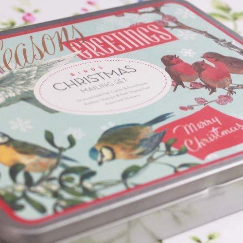 Cavallini-Mailing-Set Christmas Birds-Karten, Stempeln,