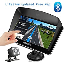 """Car GPS Navigation, 7"""" Touch Screen + Rear View Camera, DONGKER Voice Prompt GPS Navigation for Car with Lifetime Maps and Traffic, Bluetooth, Multi-Media and FM"""