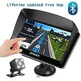 Voiture de navigation GPS, écran tactile 17,8cm + Caméra de recul, Dongker Guide vocal pour voiture de navigation GPS avec cartographie à vie et le Trafic, Bluetooth, multimédia et FM