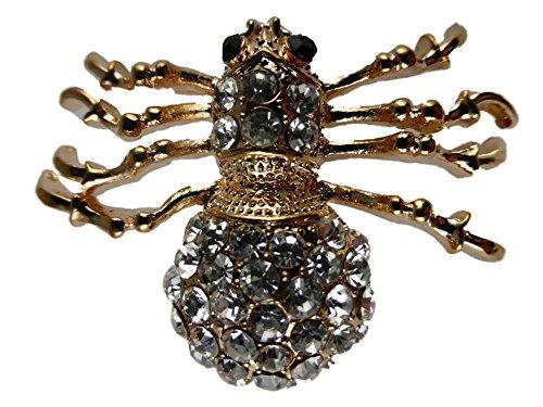 Brosche / Anstecknadel / Pin Straß goldfarben Spinne Gothic Insekt düster Tier B122