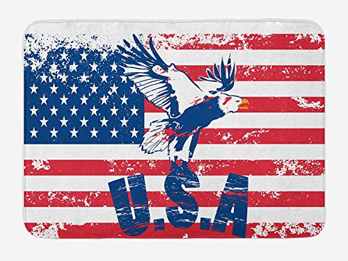 Casepillows United States Bath Mat, Grunge Looking American National Flag with Eagle and USA Artistic Print, Plush Bathroom Decor Mat with Non Slip Backing, 23.6 x 15.7 Inches, Navy White Red - Navy Red Royal Stone