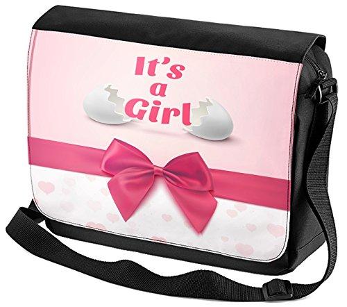Umhänge Schulter Tasche Taufe Glückwunsch Karte Es ist ein Mädchen bedruckt
