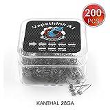 200 PCS Kanthal A1 28 AWG Coil Préfabriqués, Vapethink Fil de Résistance Wire, 1 ohm