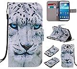 Nancen Samsung Galaxy S4 / I9500 (5 Zoll) Hülle/Handyhülle, Painted Tier PU Leder Tasche Schutzhülle Case Lederhülle Flip Cover mit Standfunktion [Weiß Leopard]