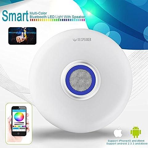 2win2buy LED Musik Deckenleuchte mit Bluetooth Lautsprecher APP Fernbedienung Einstellbar Durchmesser 17,7 Zoll 2700 Lumina 6500K Weiß Runde Deckenlampe Deckenbeleuchtung
