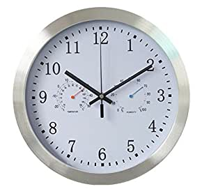 Truecase CLICKS 100% Aluminium Frame,Sweep Motion (Silent) ,Wall Clock, with Temperature and Humidity Meter(White)