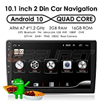 Android 10 Universal Double Din Car Stereo Radio with 10.1 Inch Touch Screen + External Micphone, Supports Car GPS Navigation Bluetooth Mirror-link WiFi 4G SWC DVR OBD2 DAB+