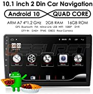 Android 10 Universal Double Din Car Stereo Radio with 10.1 Inch Touch Screen + External Micphone, Supports Car