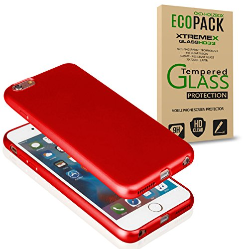 EGO Für iPhone 6 Plus / 6S Plus Luxury Case Slim Rot Matt Metallic Bumper Silikon Schale Schutzhülle Anti-Fingerabdruck satin Rückseite Rot + Glas