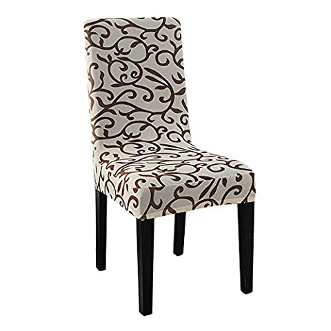 Awland Dining Chair Slipcovers Protector Removable Short Stretch Spandex Dining Room Banquet Chair Seat Cover for Kitchen Bar Hotel and Wedding Ceremony - Champagne +