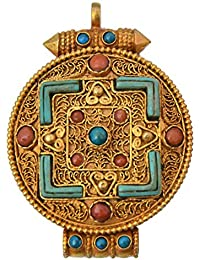 Exotic India Mandala Gau Box Pendant With Filigree, Coral And Turquoise - Made In Nepal - Sterling S