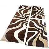 PHC Bettumrandung Teppich Läufer Muster Modern in Braun Beige Creme Läuferset 3 Tlg, Grösse:2mal 80x150 1mal 80x300