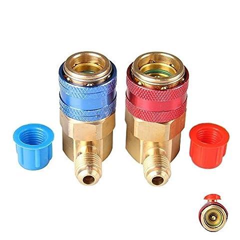 cheefull HLK Stecker Adapter R134A System Anschluss 90Grad Anschluss AC Quick Connector Adapter HLK Kupplung KFZ Auto Klimaanlage R134A schnellverbindungen & # xff08; Set von 2& # xff09;