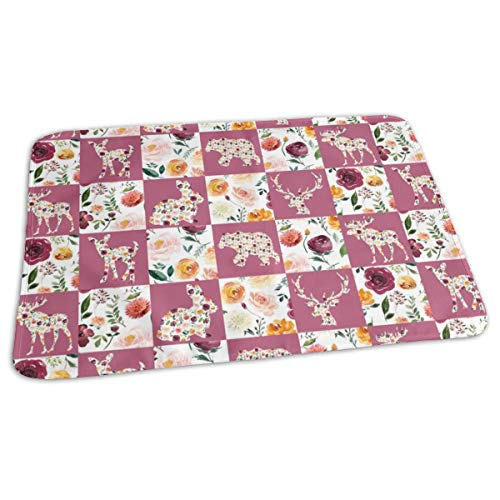 Autumn Watercolor Floral Silhouettes Quilt 6 Squares Baby Portable Reusable Changing Pad Mat 19.7x 27.5 inch -