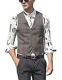 Zicac - Gilet - Homme marron Brown Plaid Printing