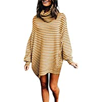 Selou Frauen Pullover Gestreifter Rollkragenpullover Kleidung im Herbst und Winter tragen Winterkleid Minirock Schlankes sexy langes Top Lässiger lässiger Pullover Mädchenkleidung Schöne Clubkleidung