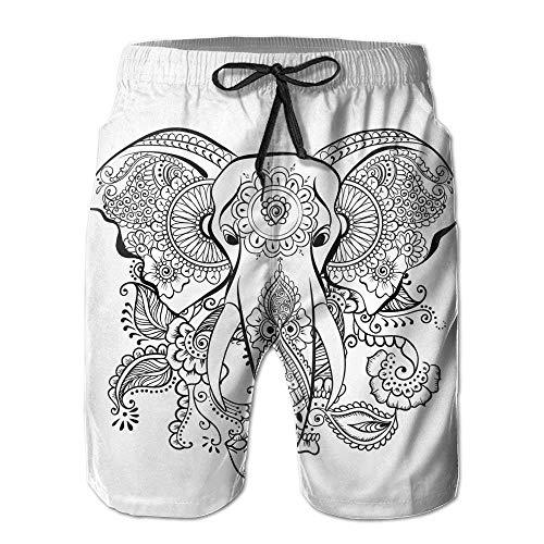 KLYDH Beach Volleyball Shorts, Mandala Elefant Beach Lounge Shorts for Men Boys, Outdoor Short Pants Beach Accessories,Size:XX-Large
