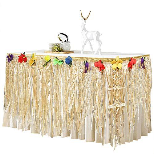BELLE VOUS Hawaii Deko Tischrock 9ft - Luau Party Deko (L274 x H77cm) mit bunten Hibiskus Blumen - Luau Tischdeko, Tischrock aus Bast für Karibik Deko, hawaiianische Party, Geburtstag und Grillparty