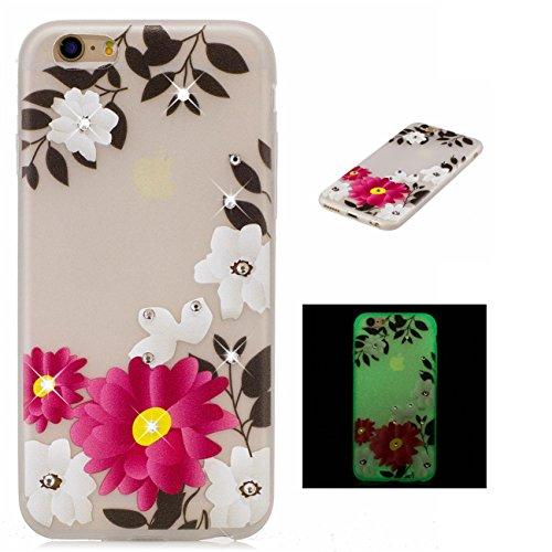 Apple iPhone 6/6S 4.7 hülle, Voguecase Schutzhülle / Case / Cover / Hülle / TPU Gel Skin mit Nachtleuchtende Funktion (Grüne Blätter 02) + Gratis Universal Eingabestift Rot Blume 17